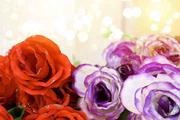 Romantic still life, red and white, purple roses with bokeh. Valentine's day concept.Soft focus