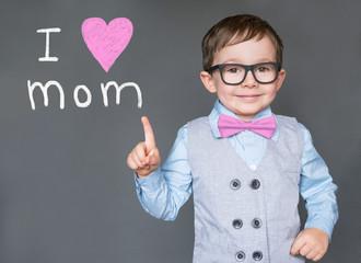 Cute kid saying I love you mom