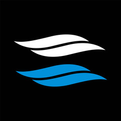 Blue waves swoosh logo. Swoosh vector wave