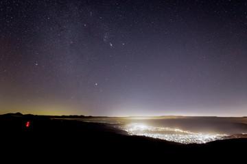 高ボッチ山から見た諏訪湖の夜景と冬の大三角