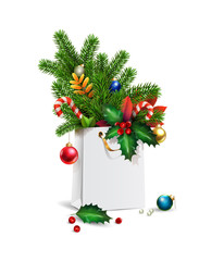 Vector New Year, Merry Christmas 3d Shopping bag, decorations of spruce, fir branches, xmas toys, colorful balls, holly