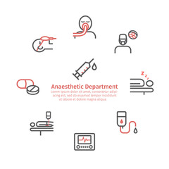 Anesthesia round banner. Line icons.. Anaesthetic Department. Health center. Vector sign for web graphics.