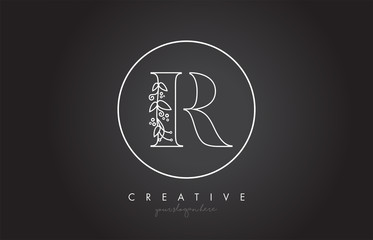 R Letter Logo With Organic Monogram Plant Leafs Detail and Circle Design