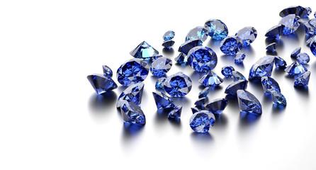 Blue diamonds placed on white background, 3D illustration.