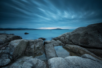 Blue silence. Long exposure seascape in the blue hour before sunrise.