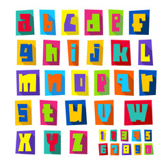 New font, cut colorful letters lower case