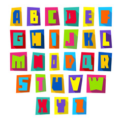 New font, cut colorful letters upper case