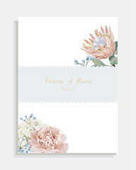 Floral wedding invitation card ,white label and vector greeting vintage with flower.