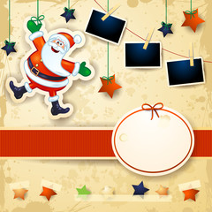 Christmas background with label, stars, Santa and photo frames