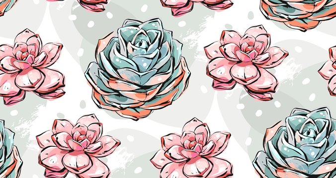 Hand drawn vector abstract ink brush grunge drawing textured crafted decoration succulent cacti flowers collage seamless pattern isolated on white background.