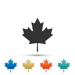 Canadian maple leaf icon isolated on white background. Canada symbol maple leaf. Set elements in colored icons. Flat design. Vector Illustration