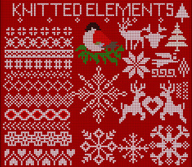 Set of knitted elements, ornaments, snowflakes and other Christmas decorations on a red background