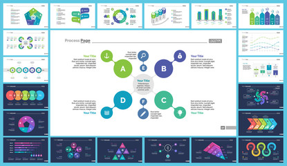 Creative business infographic diagram set can be used for annual report, web design, workflow layout. Marketing concept. Option venn, process, percentage chart, bar graph, area chart, timeline