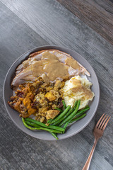 Thanksgiving or Christmas meal plate with turkey