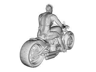 3d rendered illustration of a bikers skeleton