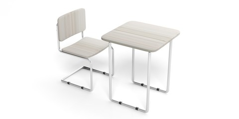 Student desk and chair, isolated, white background, cutout, 3d illustration.