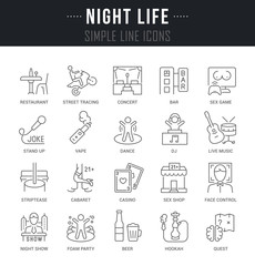 Set Vector Line Icons of Night Life.