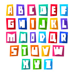 New font cut white letters uppercase