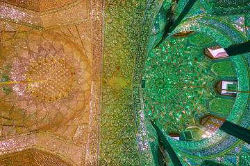 Two domes of Mirror Hall of Imamzadeh Ali Ibn Hamzeh Shrine, Shiraz, Iran