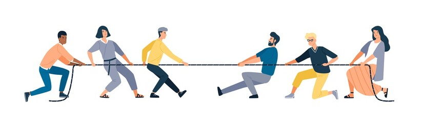 Two groups of people pulling opposite ends of rope isolated on white background. Tug of war contest between office workers. Concept of business competition. Vector illustration in flat cartoon style. Wall mural