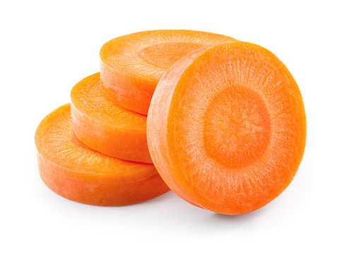 Carrot slices. Carrots. Perfectly retouched carrot slices isolated on white. Full depth of field.