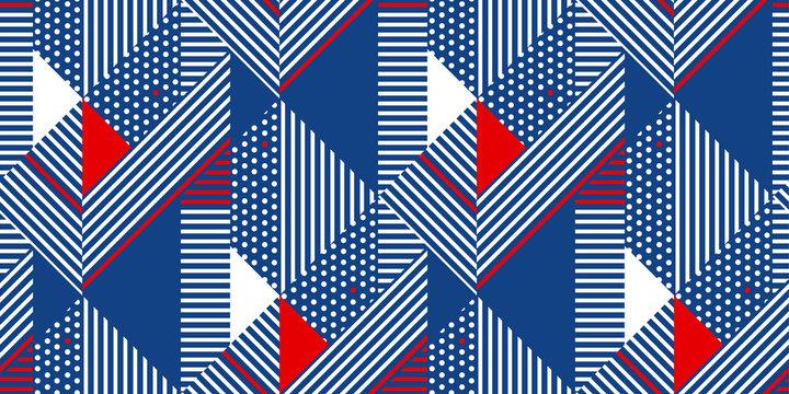 Blue and white stripes geometric seamless pattern.