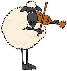 Black-faced sheep playing a violin