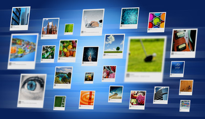 Photo and image sharing concept on Internet