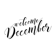 Welcome December - lettering text. Hand drawn vector illustration. Good for social media, scrap booking, posters, greeting cards, banners, textiles, gifts, shirts, mugs or other gifts.