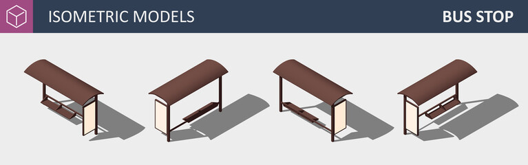 City Bus Stop - Vector Isometric Flat 3D Concept.