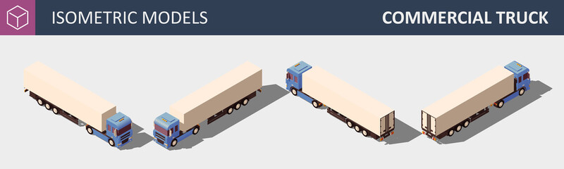 Commercial Truck. Isometric Vector Illustration in Four Dimensions.