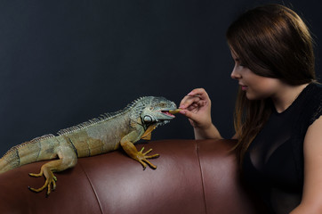 nsual woman and dragon in the studio