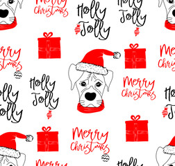 Hand drawn vector illustration with a cute baby dog celebrating celebrating a Merry Christmas - seamless pattern with isolated on white background