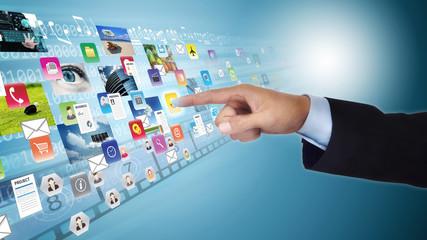 Internet social media and multimedia sharing concept