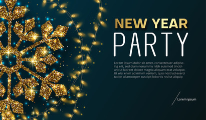 New Year party poster or invitation with gold shiny snowflake and lights.