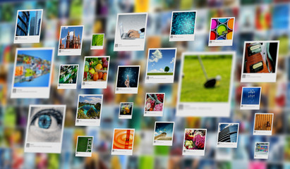 Photography and image sharing concept on Internet Wall mural