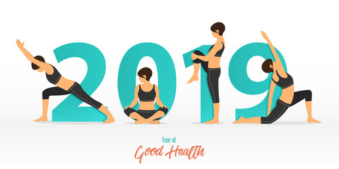 Happy New Year 2019 banner with yoga poses. Year of good health. Banner design template for New Year decoration in Yoga Concept. Vector illustration.