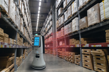 smart retail concept, robot service use for check the data of or Stores that stock goods on shelves with easily-viewed barcode and prices or photo compared against an idealized representation of store