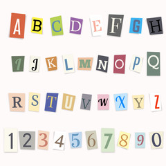 Cut letters of the alphabet and numbers, vector illustration.
