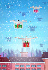 drone gift box delivery service over city building houses winter street cityscape background merry christmas happy new year concept flat vertical flat vector illustration