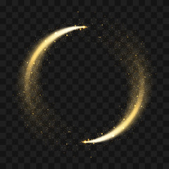 Fototapeta Gold sparkling glitter circle. Vector circle of golden glittering particles with star light trail and shine glow on transparent background obraz