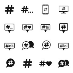 hashtag vector icons for web design and user interface
