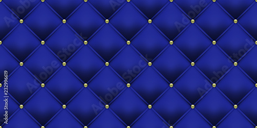 e68cc06ca79b Royal blue background with gold buttons. Vector leather or velvet vintage  luxury upholstery with golden