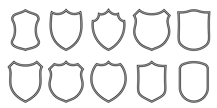 Badge patches vector outline templates. Vector sport club, military or heraldic shield and coat of arms blank icons