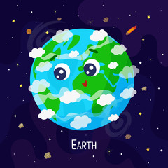 Cute cartoon Earth planet character. Space vector illustration