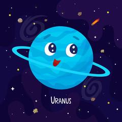 Cute cartoon Uranus planet character. Space vector illustration
