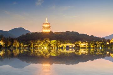 The pagoda of light is on West Lake, China, Hangzhou.