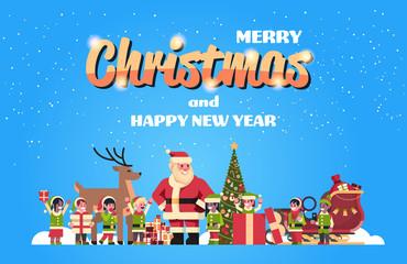 santa claus elves reindeer near fir tree decoration gift box christmas holiday new year concept flat horizontal vector illustration