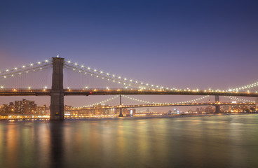 Picturesque cityscape with bridges in night time