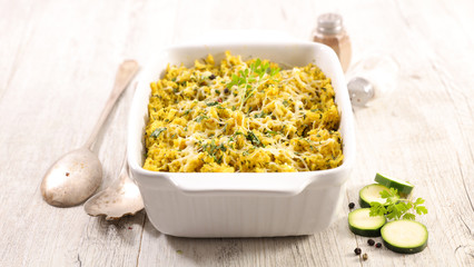 gratin, baked rice and zucchini